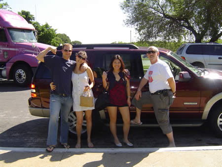 A photo of Veit, Evgania, Jennifer and Gary in front of the hire car.