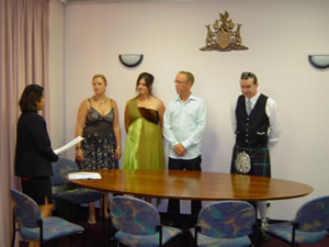 A photo off the ceremony at the registrar