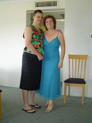 Maureen in her wedding outfit next to me with the kilt
