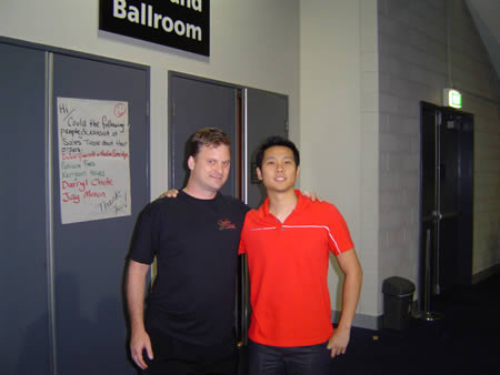 A photo of Ben Teo and Bryan Stephens at the front door of UYMG Sydney