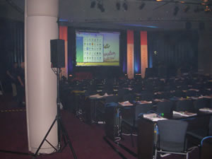 A photo of the stage before the event started.